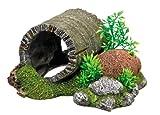 """Nobby 28268 Aquarium Dekoration Aqua Ornaments """"Holztunnel"""" mit Pflanzen L-18.5 x B-15.5 x H-9 cm"""